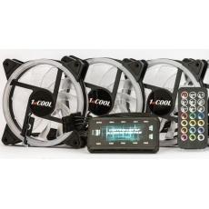 BAZAR -1stCOOL Fan KIT AURA RAINBOW, 3x ARGB fan+řadič+dálk.ovladač+3-pin kabel do MB- OPRAVENO