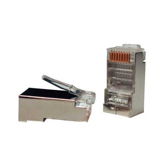 Konektor STP RJ45 (8p8c), Cat5E, 30µm, licna - 100 ks