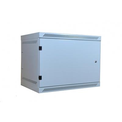 """LEXI 19"""" nástěnný rozvaděč 9U, plné dveře, uzamykatelný, antivandal, hloubka 400mm, nosnost 60kg, šedý"""