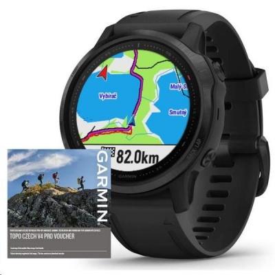 Garmin GPS sportovní hodinky fenix6S PRO Glass, Black/Black Band (MAP/Music)