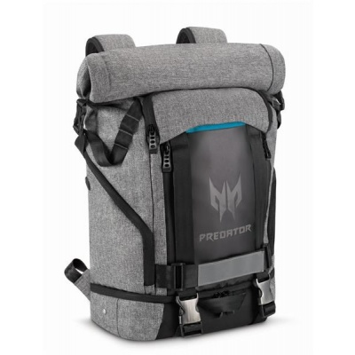 "PREDATOR GAMING ROLLTOP BACKPACK 15,6"" GRAY BLACK with Blue Accent (RETAIL PACK),"