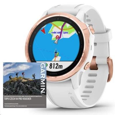 Garmin GPS sportovní hodinky fenix6S PRO Glass, RoseGold/White Band (MAP/Music)