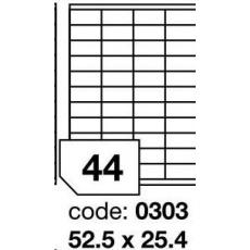 RAYFILM Štítky 52,5x25,4mm univerzálne biele *R0100.0303A, 100 listů