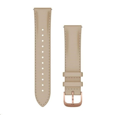 Garmin řemínek Quick Release 20mm, kožený béžový, růžovozlatá přezka