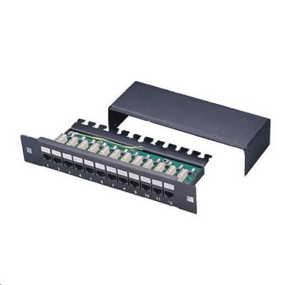 "10"" Patch panel XtendLan 12port, STP, Cat5E, krone, černý"