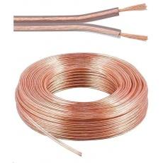 PremiumCord Kabely na propojení reprosoustav 100% CU měď 2x0,75mm 25m
