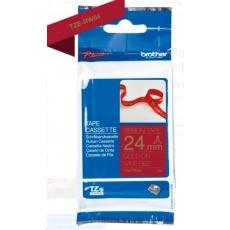 BROTHER TZE-RW54 - kazeta TZ šířky 24mm, TEXTILNÍ páska 4m- pro tvorbu dárků - NELEPÍCÍ - ČERVENÁ PÁSKA, ZLATÝ POTISK