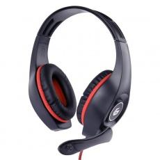 GEMBIRD sluchátka s mikrofonem GHS-05-R, gaming, černo-červená, 1x 4-pólový 3,5mm jack