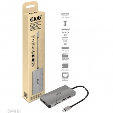 Club3D Dokovací stanice 8v1 USB 3.2 typ C (2xHDMI, 2xUSB-A, RJ45, SD/ Micro SD USB Type-C female port), Triple Dynamic