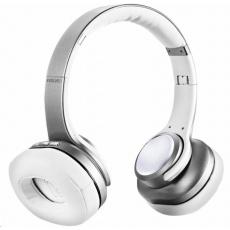 EVOLVEO bezdrátová sluchátka SupremeSound 8EQ, Bluetooth, reproduktor a ekvalizér 2v1, stříbrná