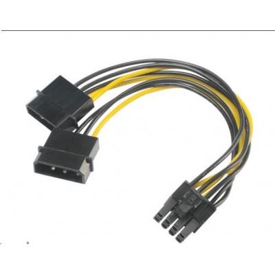AKASA adaptér 4 pin Molex na 6+2pin PCIe, 15 cm