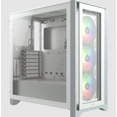 CORSAIR case iCUE 4000X RGB, Mid-Tower, ATX Case, RGB, průhledná bočnice, bez zdroje, bílá
