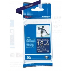 BROTHER TZE-RN34 - kazeta TZ šířky 12mm, TEXTILNÍ páska 4m- pro tvorbu dárků - NELEPÍCÍ - MODRÁ PÁSKA, ZLATÝ POTISK