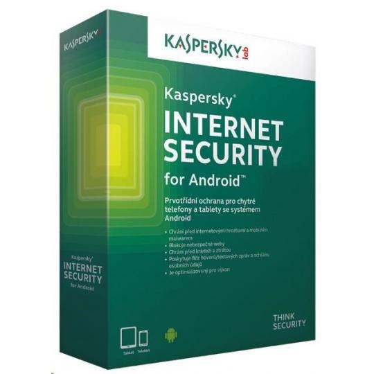 Kaspersky Internet Security ANDROID, 3 zařízení, 1 rok, obnovení licence, elektronicky