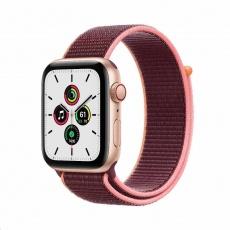 Apple Watch SE GPS + Cellular, 44mm Gold Alum. Case + Plum Sport Loop