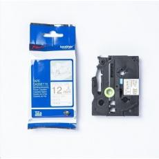 BROTHER TZE-R232 - kazeta TZ šířky 12mm, TEXTILNÍ páska 4m- pro tvorbu dárků - NELEPÍCÍ - BÍLÁ PÁSKA, ZLATÝ POTISK