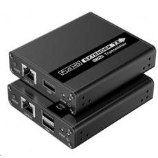 PremiumCord HDMI KVM extender FULL HD 1080p na 70m s přenosem USB