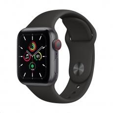Apple Watch SE GPS + Cellular, 40mm Space Gray Alum. Case + Black Sport Band - Regular