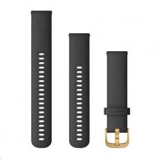 Garmin řemínek Quick Release 20mm, silikonový černý, zlatá přezka