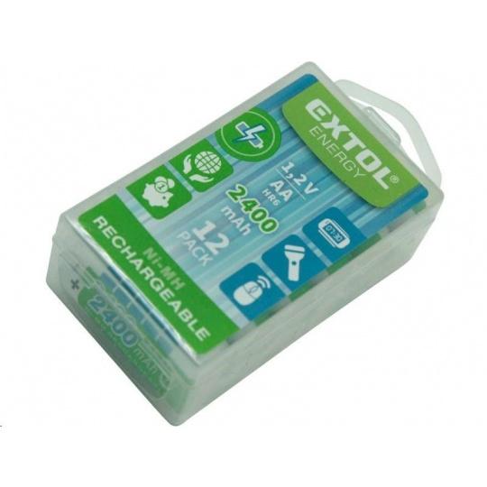 Extol Energy (42063) baterie nabíjecí, 12ks, AA (HR6), 1,2V, 2400mAh, NiMh