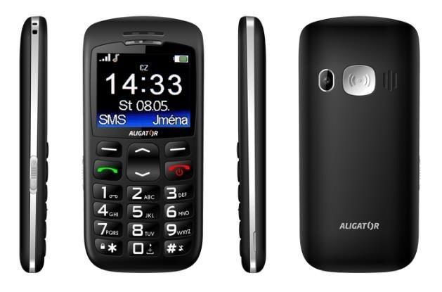 Aligator A670 Senior, černá + nabíjecí stojánek