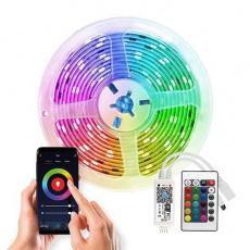 Solight Wifi Smart LED světelný pás, RGB, 5m, sada s adaptérem a dálkovým ovladačem