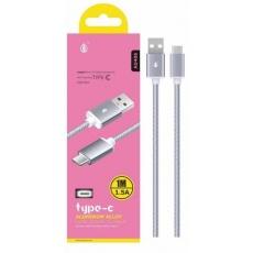 PLUS datový a nabíjecí kabel AU406, konektor USB-C, stříbrná