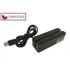 Virtuos MSR-100A třístopá čtečka magnetických karet, USB-HID/COM, černá