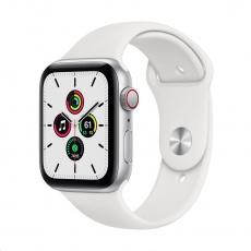 Apple Watch SE GPS + Cellular, 44mm Silver Alum. Case + White Sport Band - Regular