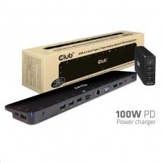 Club3D dokovací stanice USB-C 3.2 s napájecím adaptérem Triple Dynamic Display PD, 100 W