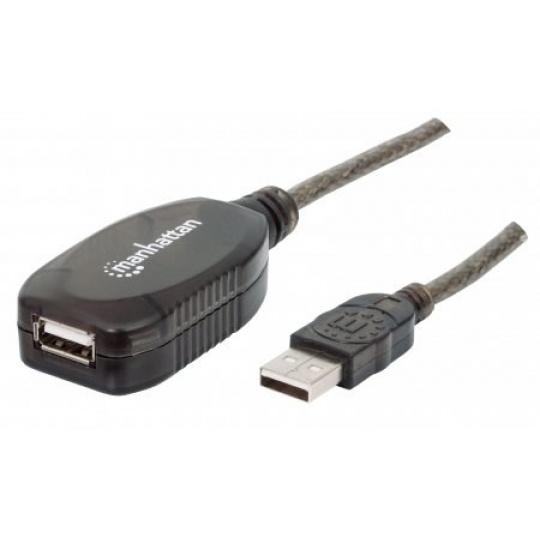 MANHATTAN Kabel USB 2.0 A-A, aktivní prodlužovací 5m, Daisy-Chainable, Polybag