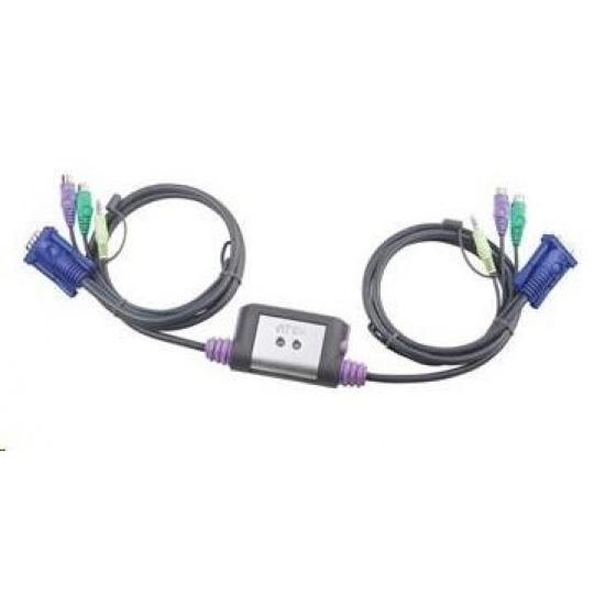 ATEN 2-port KVM PS/2 mini, audio, 1.2m kabely