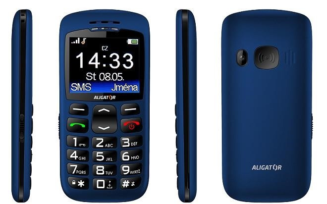 Aligator A670 Senior, modrá + nabíjecí stojánek