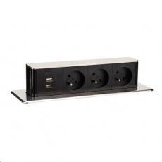 Solight USB výsuvný blok zásuvek, 3 zásuvky, hliník + plast, obdélníkový tvar, prodlužovací přívod 1,9m, 3 x 1mm2