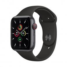 Apple Watch SE GPS + Cellular, 44mm Space Gray Alum. Case + Black Sport Band - Regular
