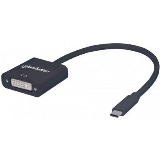 MANHATTAN převodník z USB 3.1 na DVI (Type-C Male to DVI Female, Black)